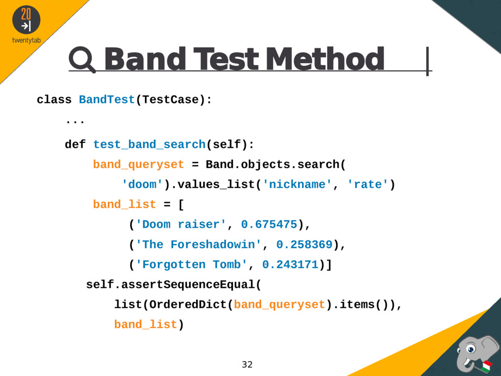  Band Test Method | class BandTest(TestCase): ...