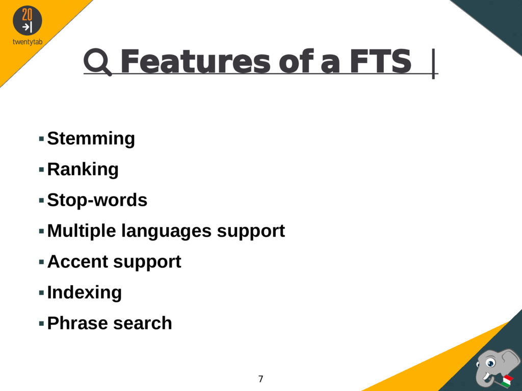  Features of a FTS | ▪Stemming ▪Ranking ▪Stop-...