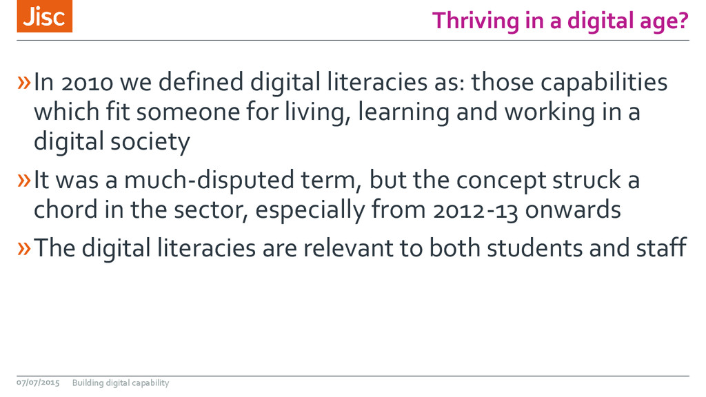 Thriving in a digital age? »In 2010 we defined ...