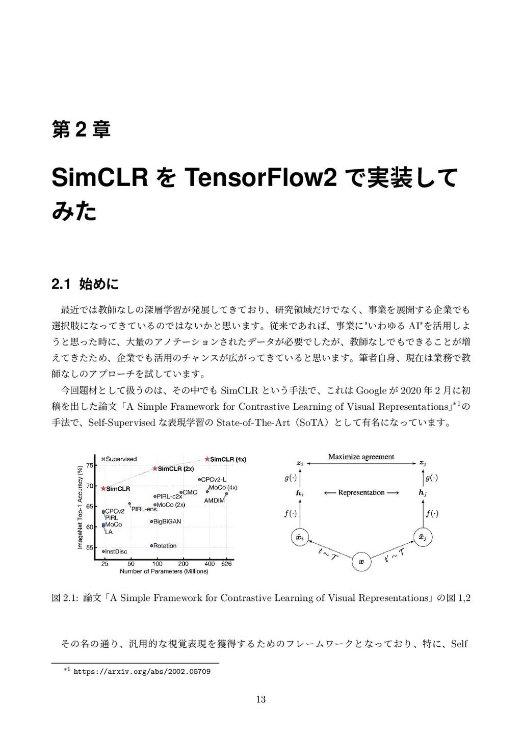 ୈ 2 ষ SimCLR Λ TensorFlow2 Ͱ࣮ͯ͠ Έͨ 2.1 Ίʹ ࠷ۙͰ...