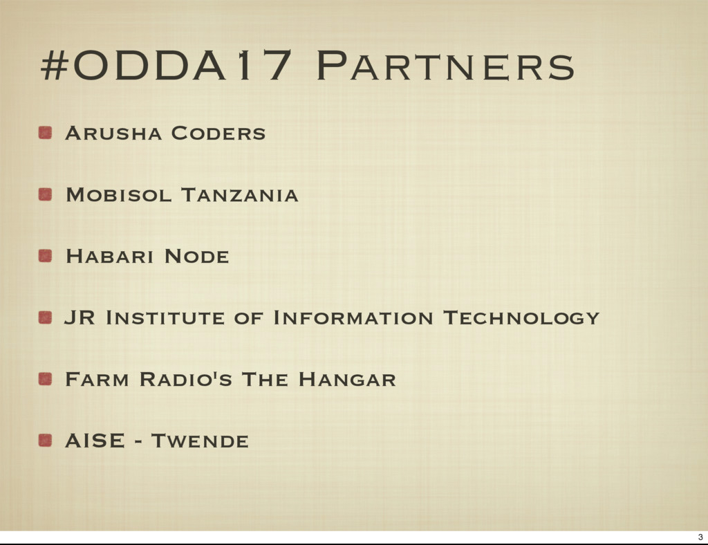 #ODDA17 Partners Arusha Coders Mobisol Tanzania...