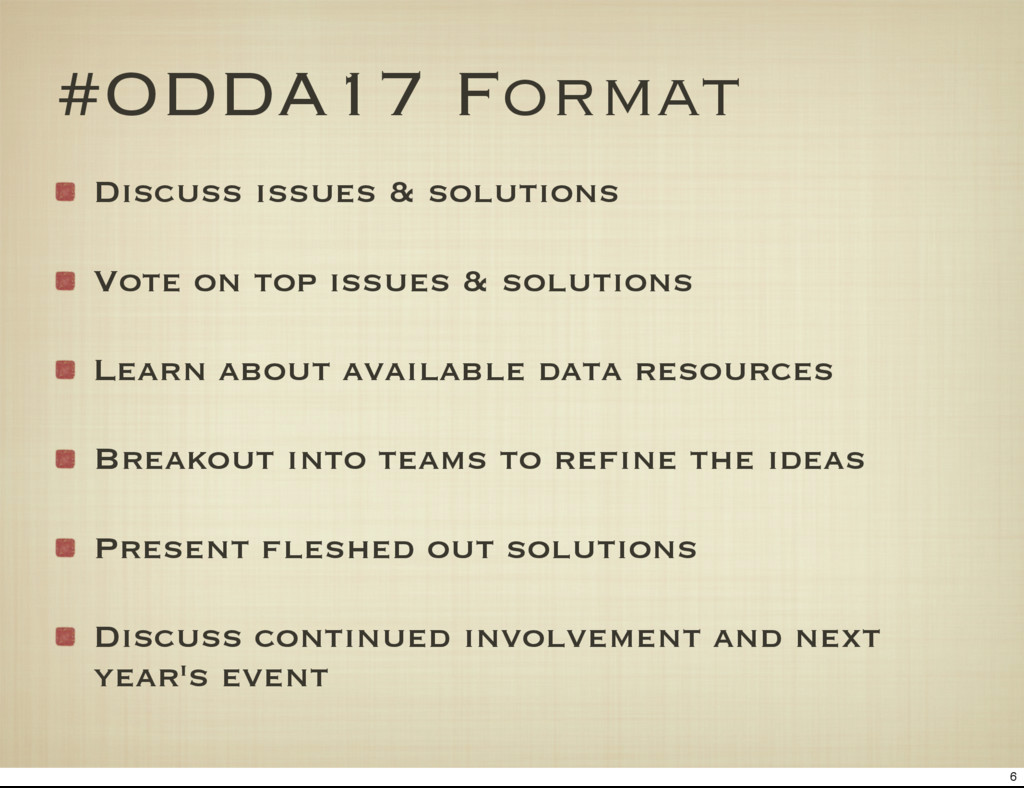 #ODDA17 Format Discuss issues & solutions Vote ...