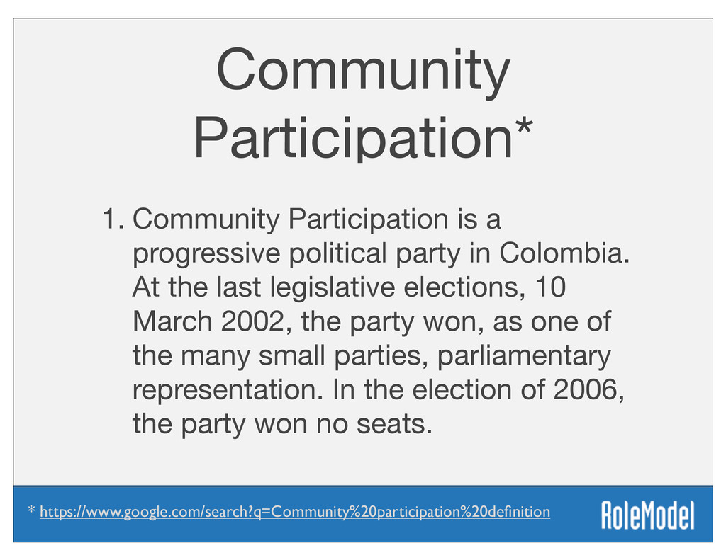 Community Participation* 1. Community Participa...