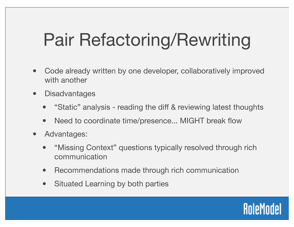 Pair Refactoring/Rewriting • Code already writt...