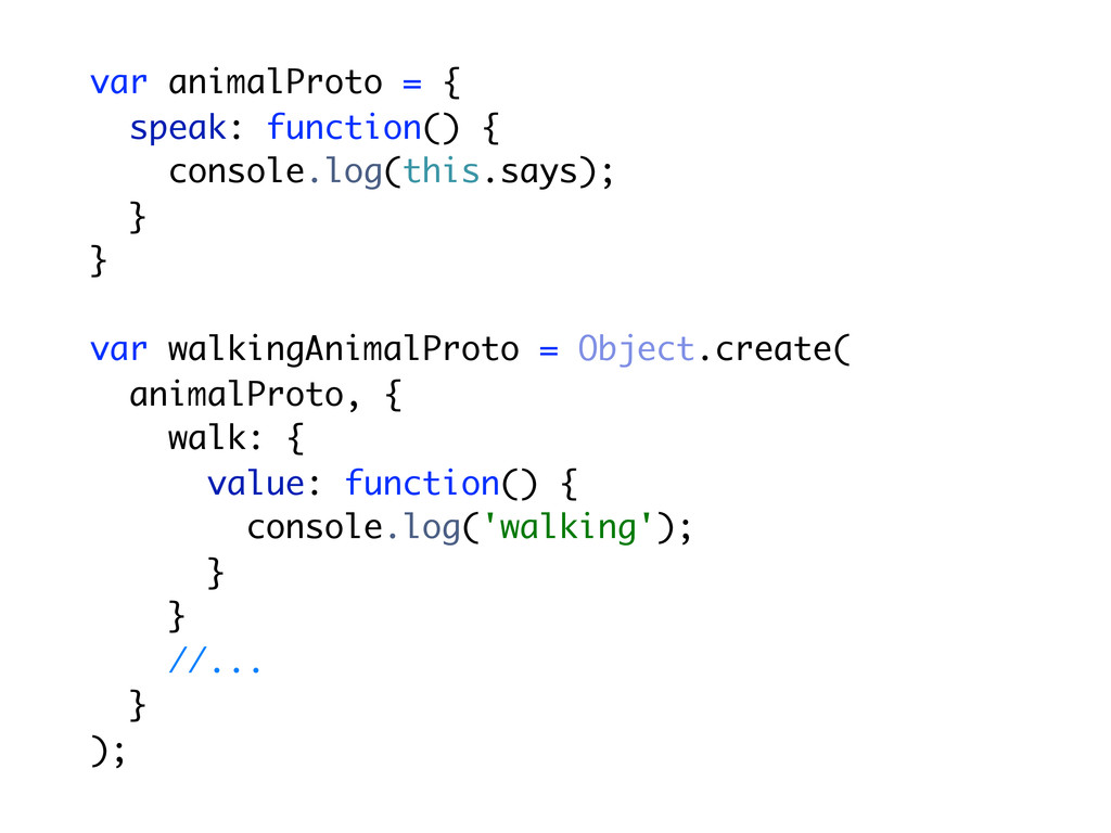 var animalProto = { speak: function() { console...