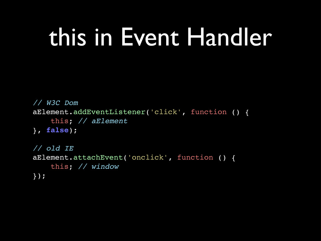 this in Event Handler // W3C Dom aElement.addEv...