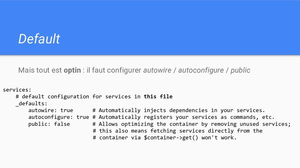 Default Mais tout est optin : il faut configure...