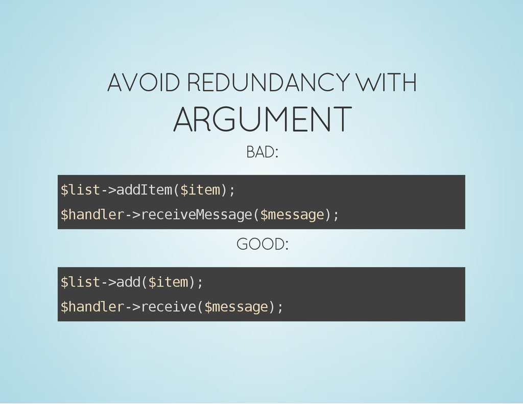AVOID REDUNDANCY WITH ARGUMENT BAD: $ l i s t -...