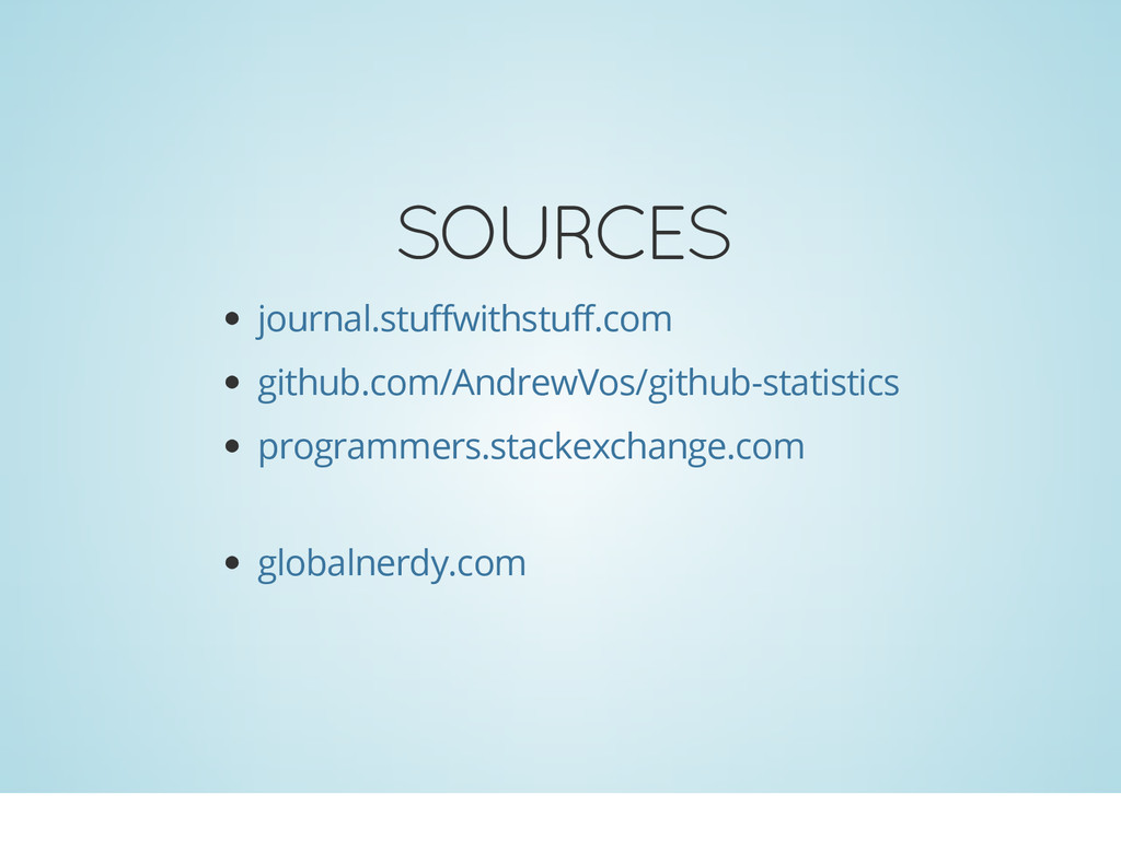 SOURCES journal.stuffwithstuff.com github.com/A...