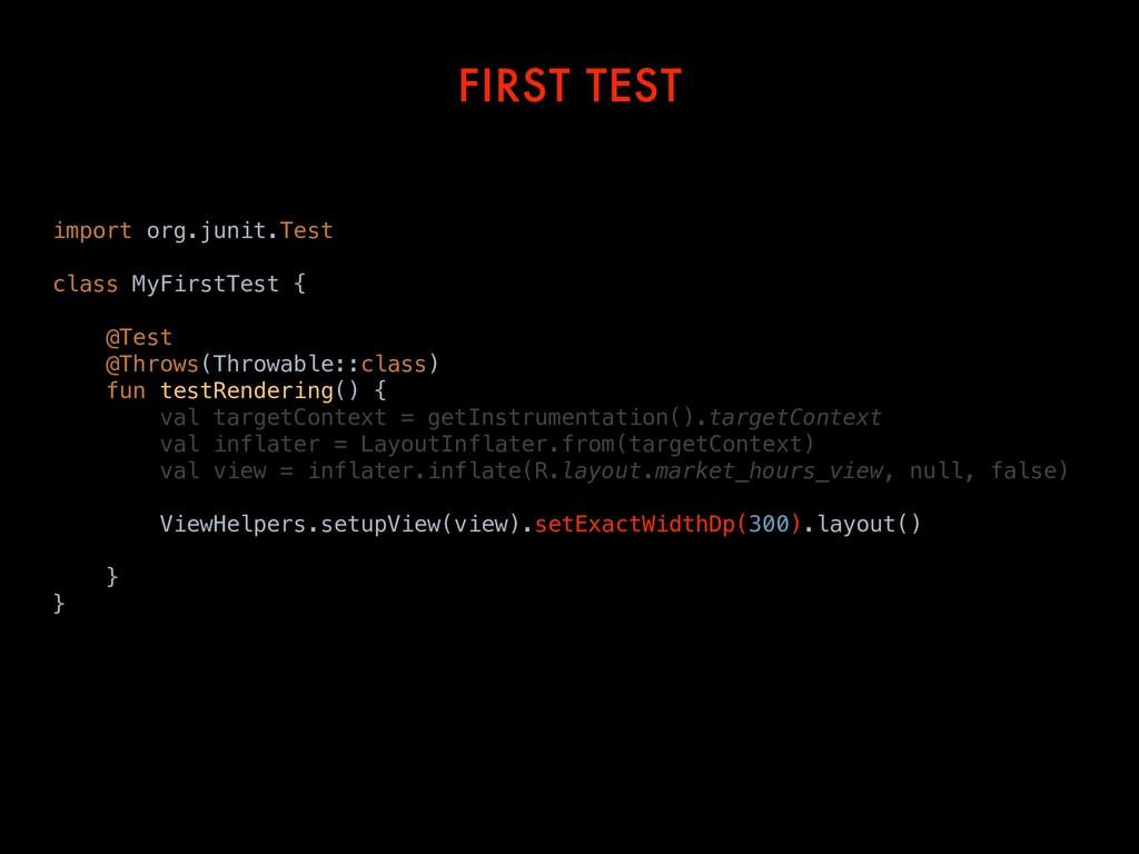 FIRST TEST import org.junit.Test class MyFirstT...
