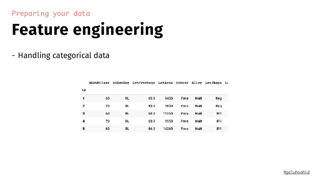 Feature engineering Preparing your data - Handl...