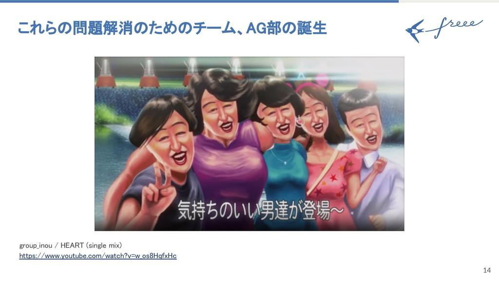 14 これらの問題解消のためのチーム、AG部の誕生 group_inou / HEART (s...