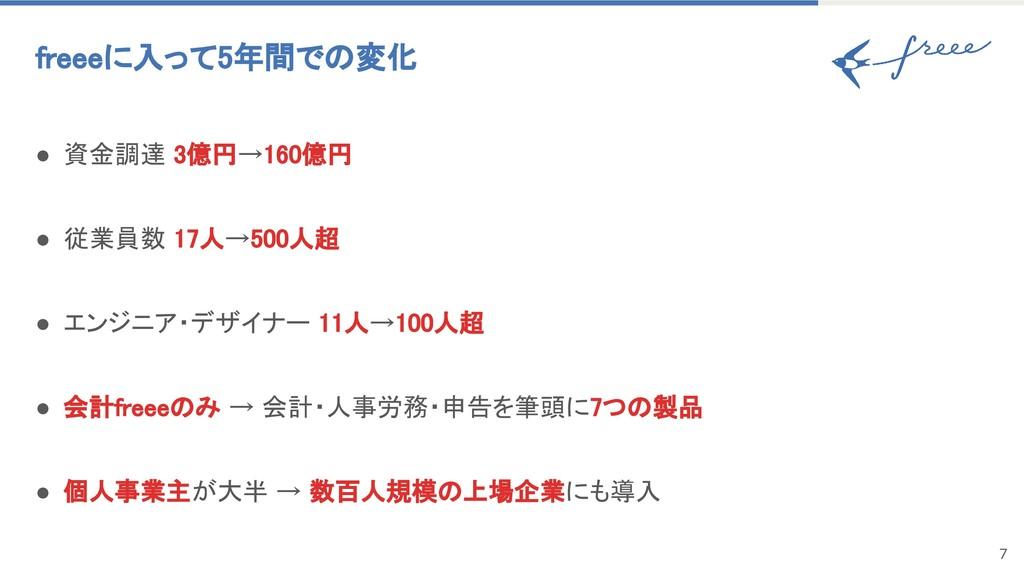 7 freeeに入って5年間での変化 ● 資金調達 3億円→160億円 ● 従業員数 17人→...