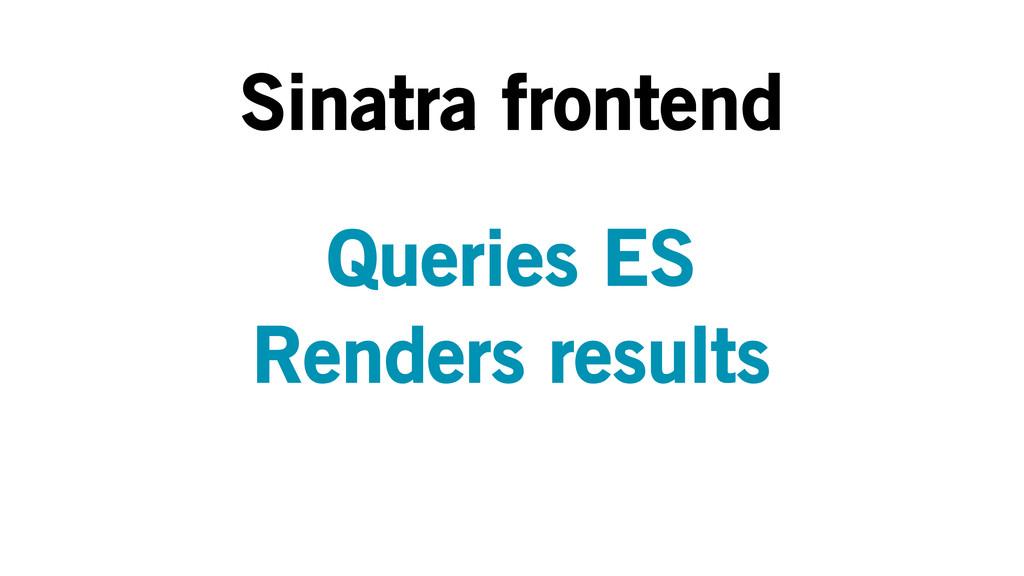 Sinatra frontend Queries ES Renders results