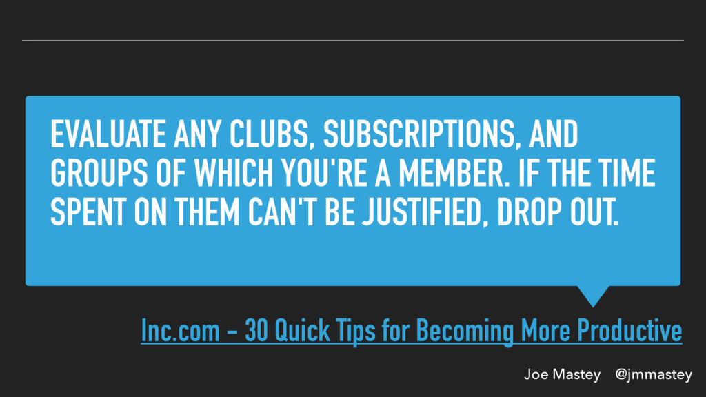Joe Mastey @jmmastey EVALUATE ANY CLUBS, SUBSCR...