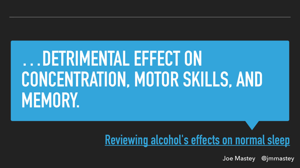 Joe Mastey @jmmastey …DETRIMENTAL EFFECT ON CON...