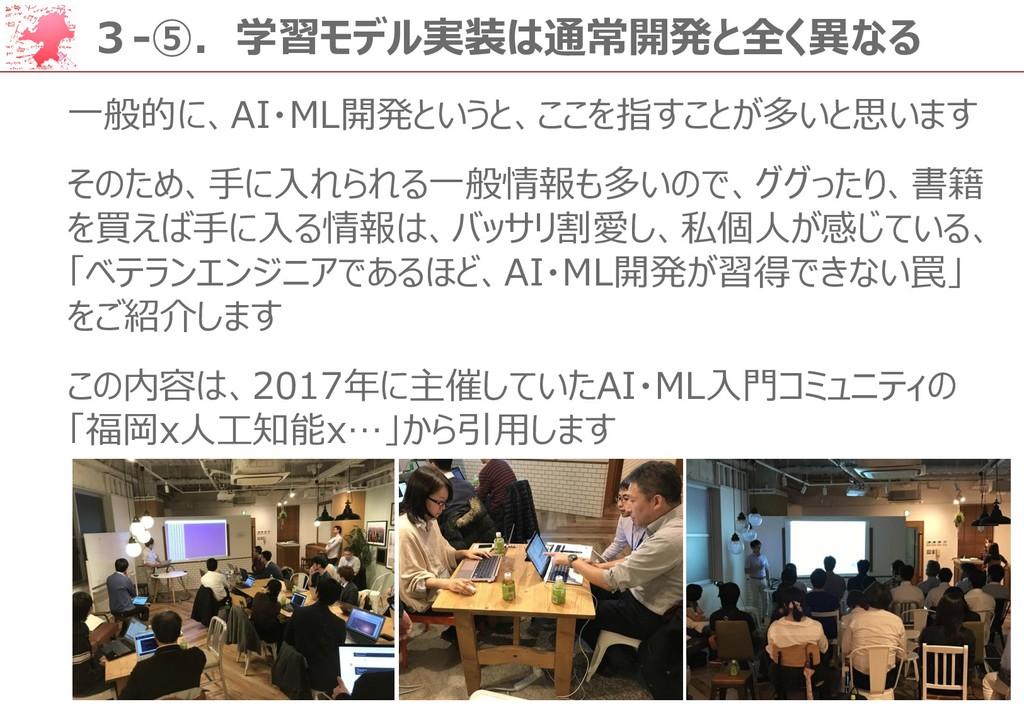 48 3-⑤.学習モデル実装は通常開発と全く異なる 一般的に、AI・ML開発というと、ここを指...