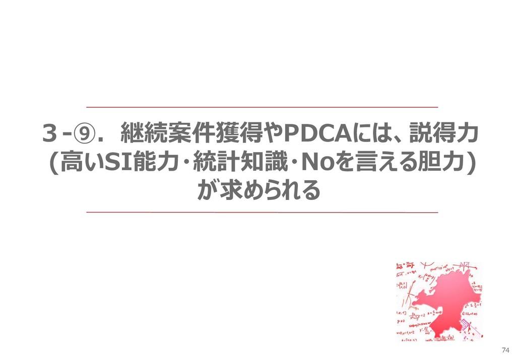 74 3-⑨.継続案件獲得やPDCAには、説得力 (高いSI能力・統計知識・Noを言える胆力)...