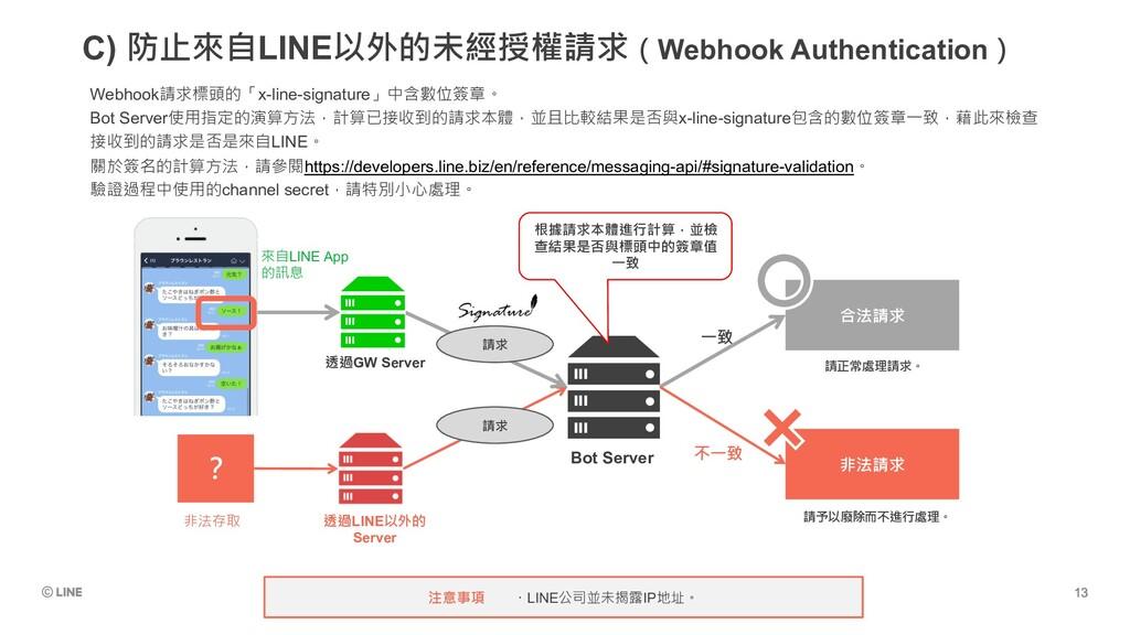 C) 防止來自LINE以外的未經授權請求(Webhook Authentication) 透過...