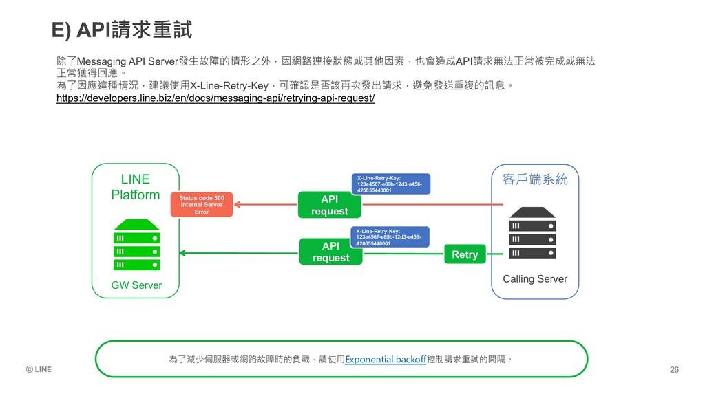 E) API請求重試 除了Messaging API Server發生故障的情形之外,因網路連...