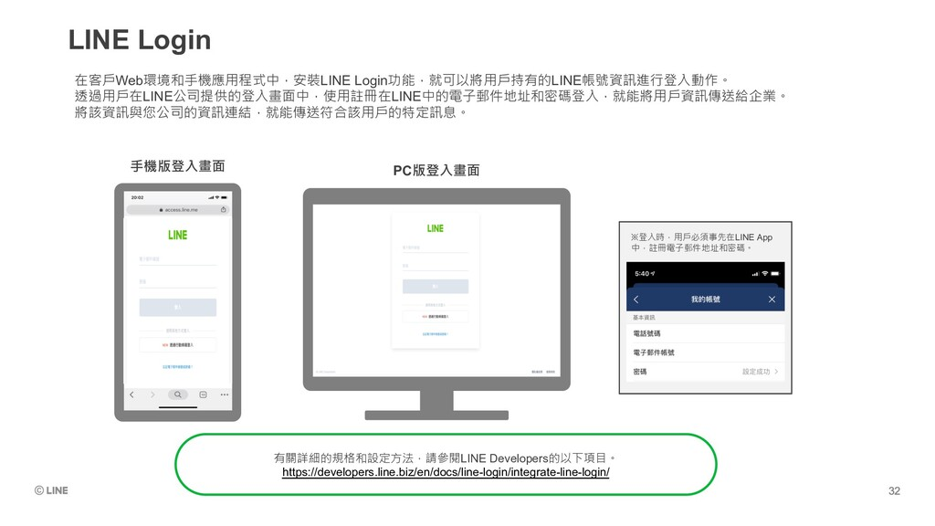 LINE Login ※登入時,用戶必須事先在LINE App 中,註冊電子郵件地址和密碼。 ...