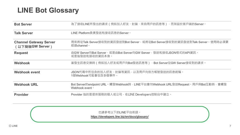 LINE Bot Glossary Bot Server 為了接收LINE所發出的請求(例如加...