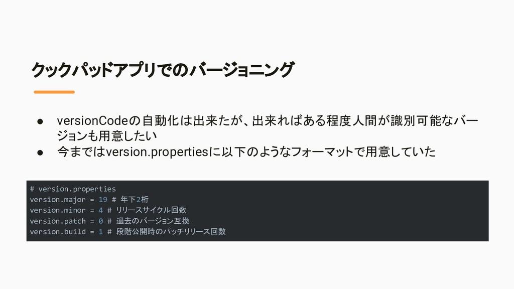 クックパッドアプリでのバージョニング ● versionCodeの自動化は出来たが、出来ればあ...