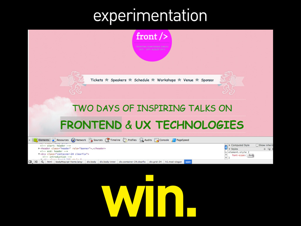 experimentation win.