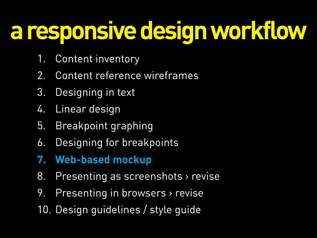 a responsive design workflow 1. Content invento...