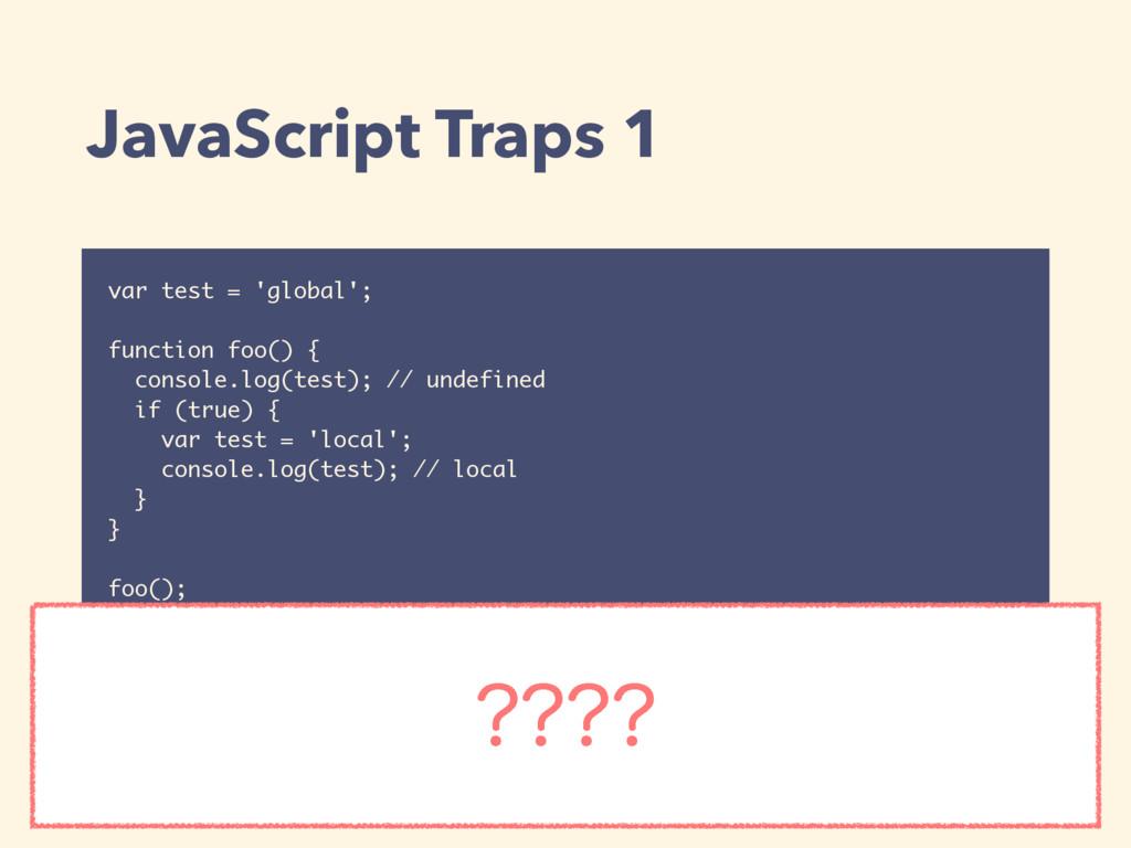 JavaScript Traps 1 var test = 'global'; functio...