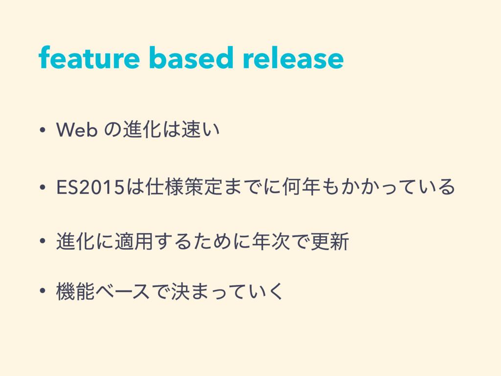 feature based release • Web ͷਐԽ͍ • ES2015༷ࡦ...