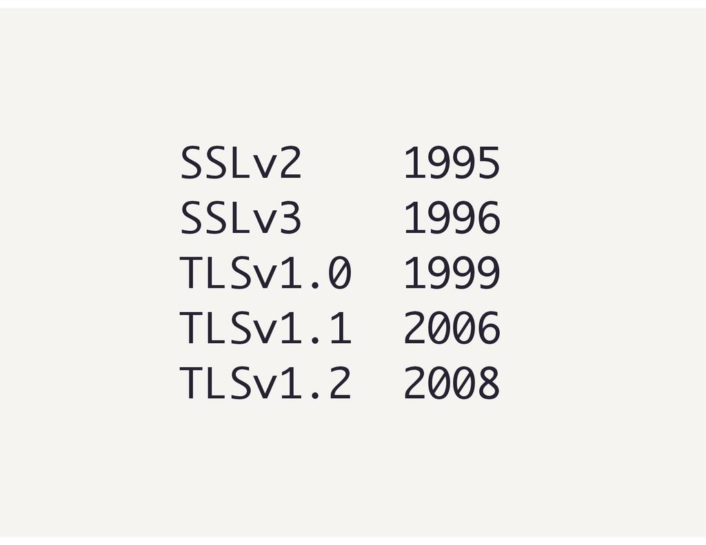SSLv2 1995 SSLv3 1996 TLSv1.0 1999 TLSv1.1 2006...