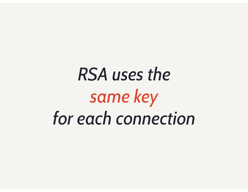 RSA uses the same key for each connection