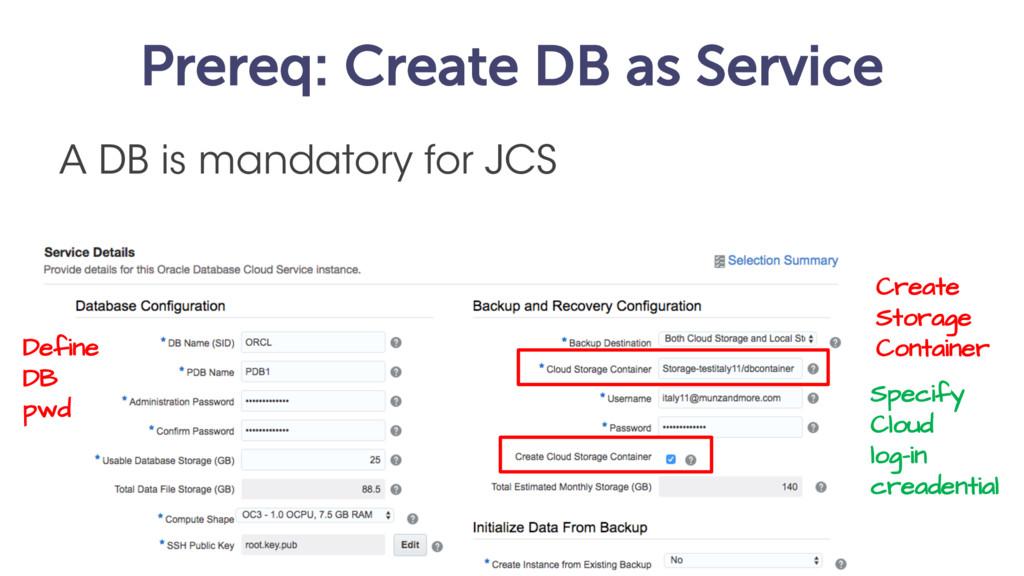 Prereq: Create DB as Service A DB is mandatory ...