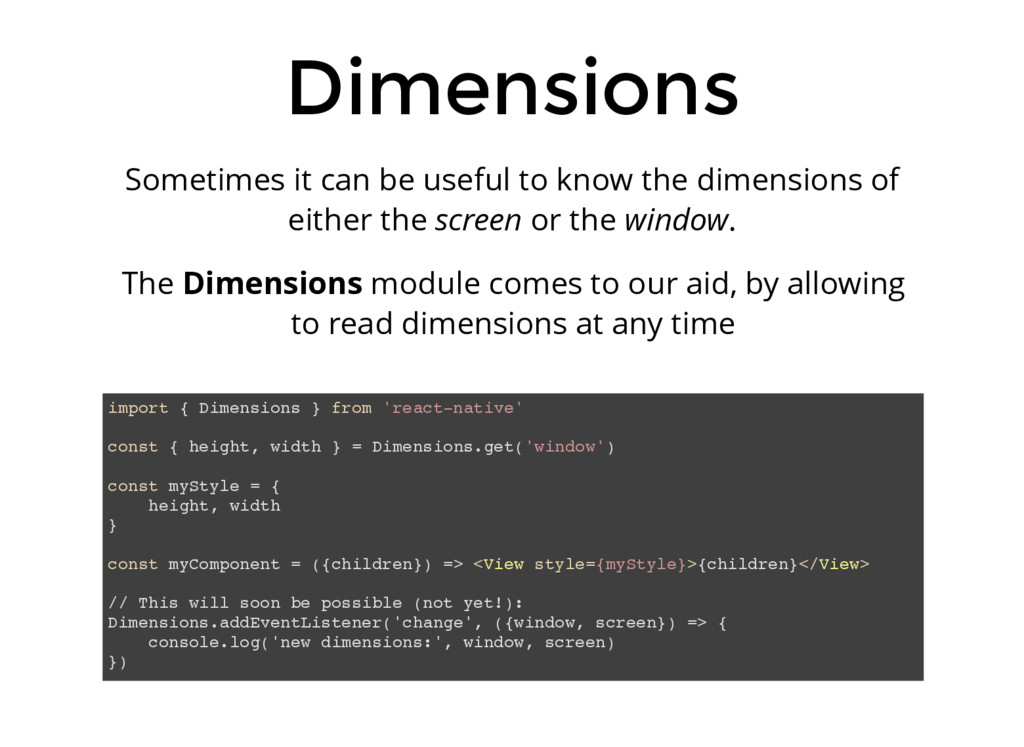 Dimensions Sometimes it can be useful to know t...