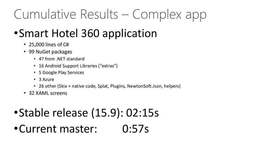 Cumulative Results – Complex app •Smart Hotel 3...