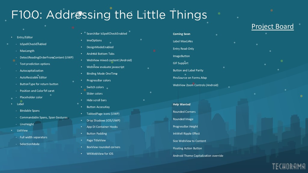 F100: Addressing the Little Things • Entry/Edit...