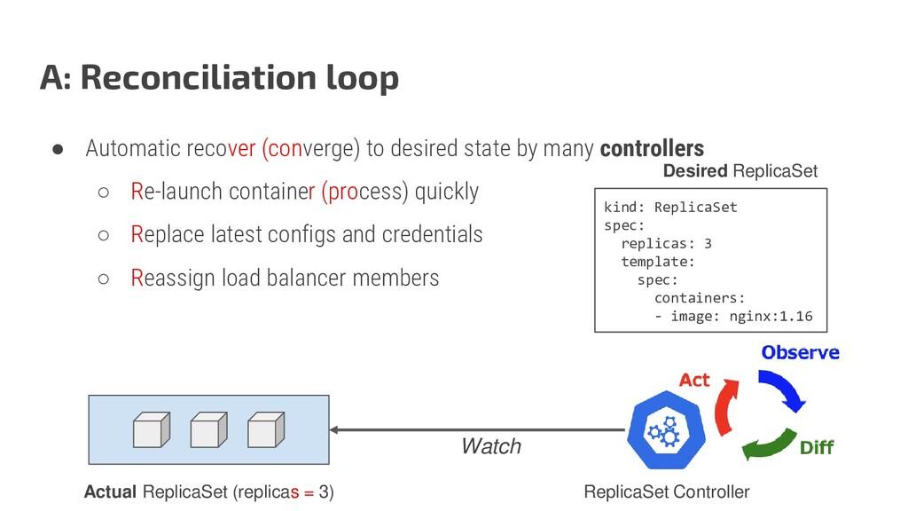 A: Reconciliation loop ● Automatic recover (con...