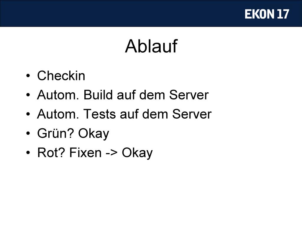Ablauf • Checkin • Autom. Build auf dem Serve...