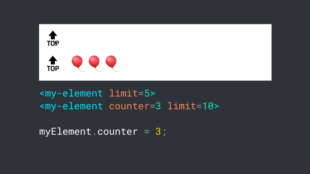 <my-element limit=5> <my-element counter=3 limi...