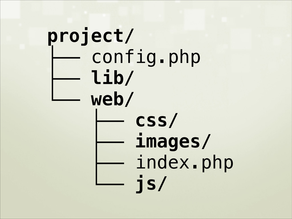 project/ ├── config.php ├── lib/ └── web/ ├── c...
