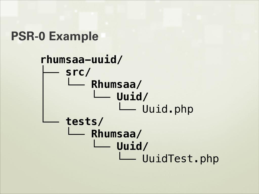 PSR-0 Example rhumsaa-uuid/ ├── src/ │ └── Rhum...