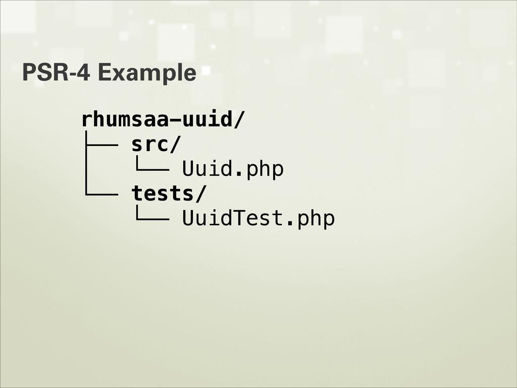 PSR-4 Example rhumsaa-uuid/ ├── src/ │ └── Uuid...