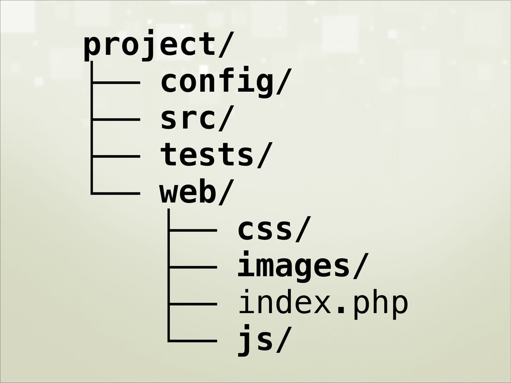 project/ ├── config/ ├── src/ ├── tests/ └── we...