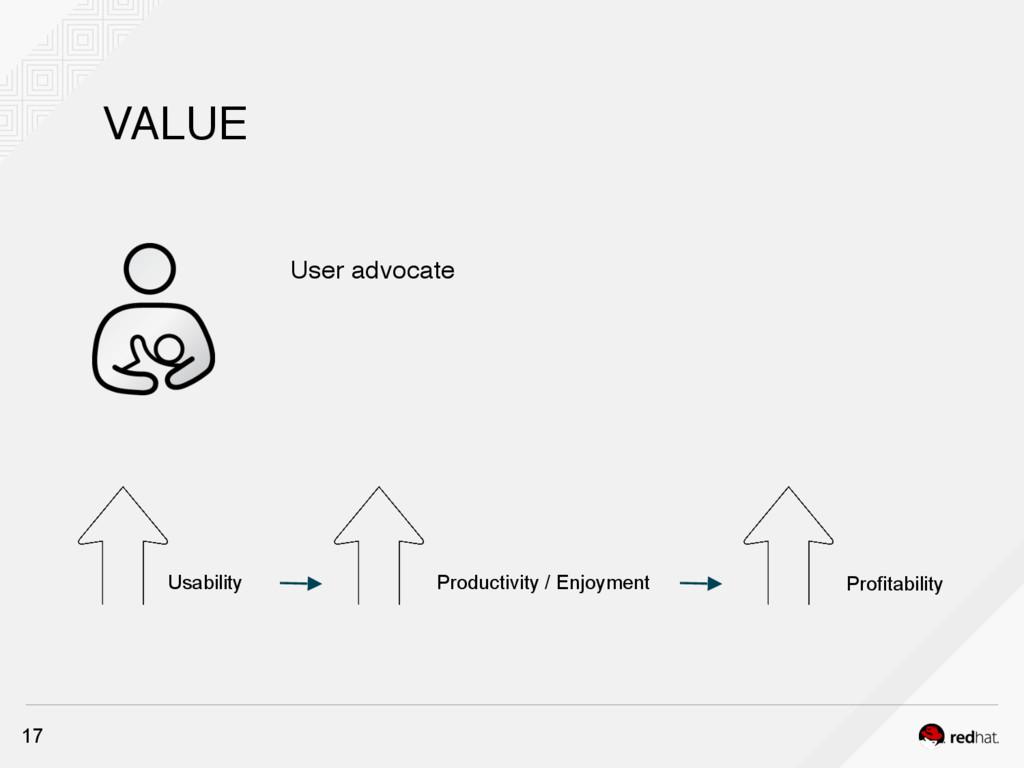 VALUE 17 User advocate Usability Profitability ...