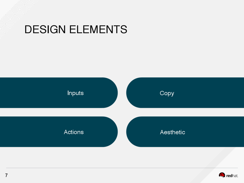DESIGN ELEMENTS Inputs Copy Aesthetic Actions 7
