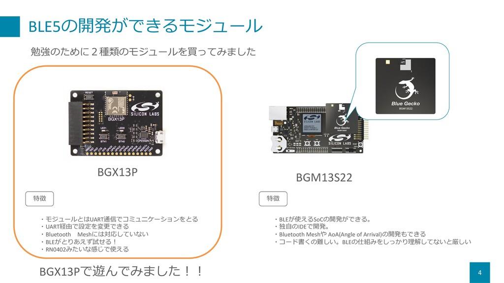 BLE5の開発ができるモジュール 4 BGX13P 勉強のために2種類のモジュールを買ってみま...