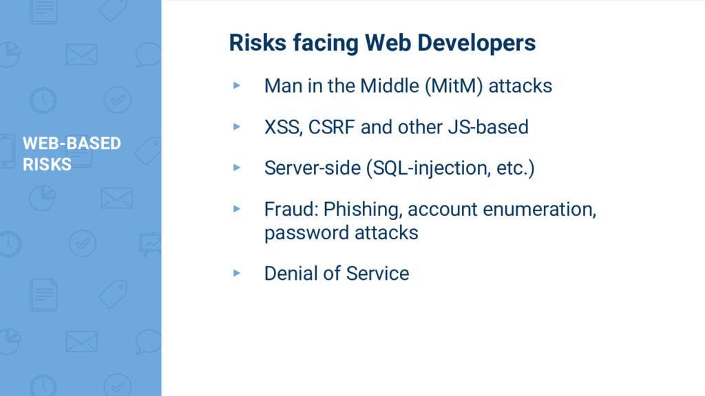 WEB-BASED RISKS Risks facing Web Developers ▸ M...