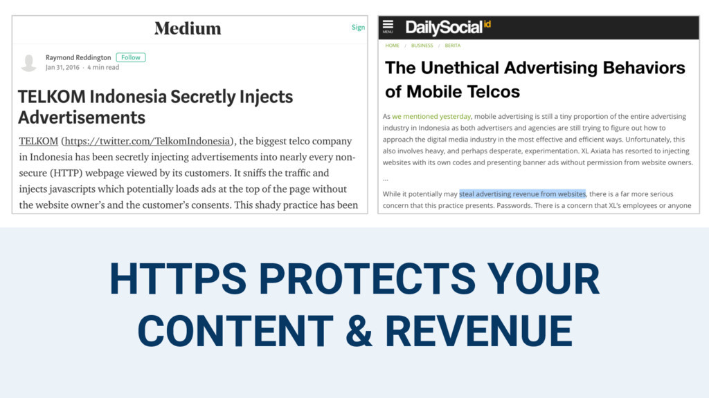 HTTPS PROTECTS YOUR CONTENT & REVENUE