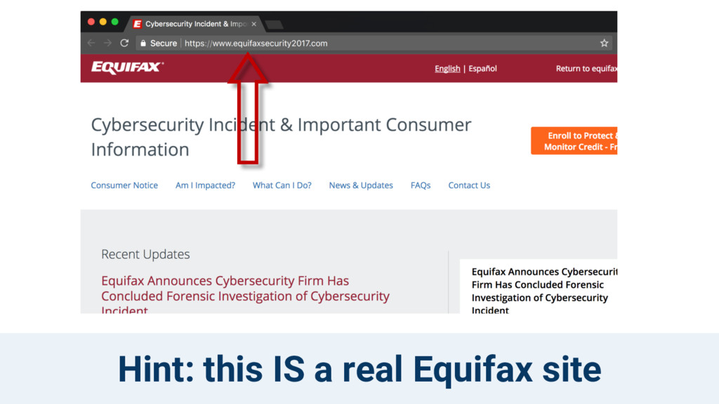 Hint: this IS a real Equifax site